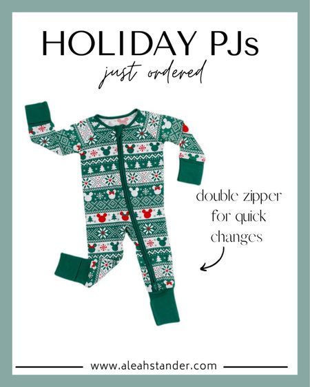 Baby holiday pjs, baby holiday photoshoot, Disney Mickey bamboo pjs, double zipper onesie, children's sleepwear, baby gifts, toddler pjs, toddler gifts   #LTKHoliday #LTKbaby #LTKGiftGuide