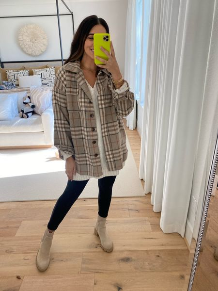 Think this neutral colored shacket is so great for layering and so soft. Code DEDE20 for 20% off  #LTKstyletip #LTKSeasonal #LTKfit