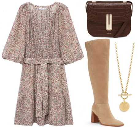 Perfect outfit got transitioning to fall! . . . Fall outfit, fall florals, fall dress, tunic dress, mini dress, croc embossed, brown croc embossed bag, brown handbag, fall bag, gold necklace, coin necklace, suede boots, knee high boots, tan suede boots  #LTKSeasonal #LTKstyletip