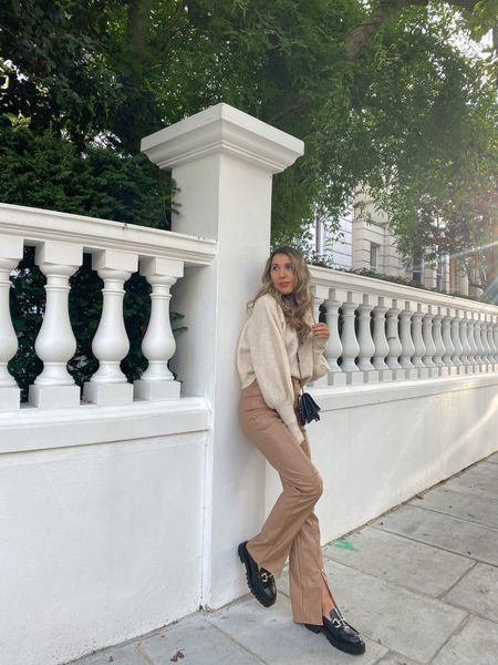 The perfect pair of faux leather trousers for autumn. I love this toffee coloured tone which will go perfectly with neutrals and blacks for autumn and winter. Chunky loafers are H&M   #LTKstyletip #LTKeurope #LTKunder50