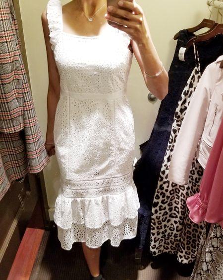 Beautiful eyelet ruffle dress perfect for weddings, summer picnics, bbqs, bridal showers, baby showers, date night or a day out with friends!!  .  @liketoknow.it #liketkit #LTKsalealert #LTKunder100 #LTKwedding #japssparkle #makeitsparkle #springvibes #ruffledress #eyeletdress #torontobloggers #bananarepublic #summerpicnic #summerdress http://liketk.it/2AFQI