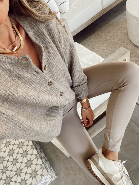 Ribbed button down cardigan  Tan leggings  Trainer sneakers Chunky herringbone necklace  20-25% off until tomorrow 9/27