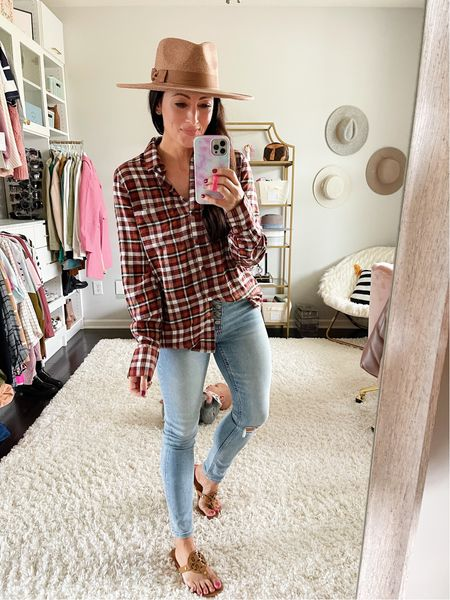 Size medium in the perfect fall flannel! Use code BRITTANY for 20% off!