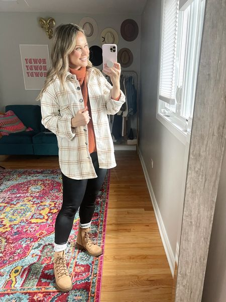 Casual fall outfit: My oversized sweater, shacket and faux leather leggings are all amazon fashion finds! My boots are under $20 and I linked my chunky socks.  #LTKunder50 #LTKSeasonal #LTKshoecrush