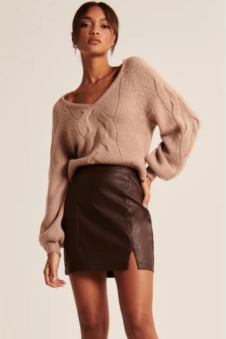Fall Chocolate brown faux leather mini skirt, fall color trends, faux-leather Fall, Fall outfits  #LTKsalealert #LTKstyletip #LTKunder100