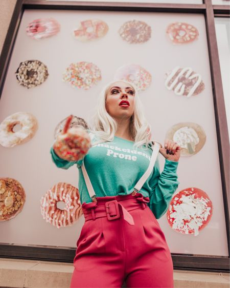Donut let anyone tell you you're less than incredible 🍩 😜   http://liketk.it/2Ahrl #liketkit @liketoknow.it #LTKunder100 #LTKstyletip #tararrized #dallasblogger #dfw #fortworth #suspenders #paperbagpants #snackcident #whatimwearing #fashioninsta