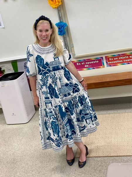 Tonight is Back to School Night! Looking forward to a new year. This blue and white chinoiserie style dress is perfect for teaching and even has pockets! You've got to love a dress with pockets.  . . #ltkpetite #teacherstyle #blueandwhite #chinoiseriedress #ltkteachers  #LTKbacktoschool #LTKstyletip #LTKSeasonal