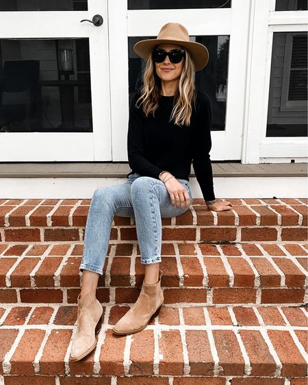 Easy fall outfit. Black sweater, jeans, booties, and fall hat #falloutfits #sweaters #booties #hat   #LTKstyletip #LTKunder100 #LTKshoecrush