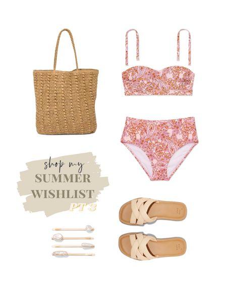 summer wishlist pt. 3🤍 Bikini. Target swim. Beach bag. High waisted bikini. Sandals. Summer outfit. For the beach.  #LTKstyletip #LTKswim #LTKsalealert