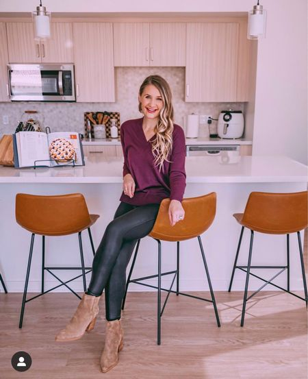 Some of my favorite pieces are back this year from the Nordstrom Anniversary Sale (NSALE)!  This v-neck sweater is amazing quality and I size down to an XS! The Spanx faux leather leggings are everyone's favorite and these suede booties are the best value because they last season after season!   #LTKunder50 #LTKshoecrush #LTKsalealert