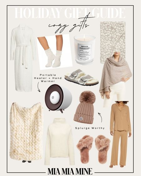 Cozy gifts for the holidays / holiday gift guide Barefoot dreams throw blanket  Birkenstock shearling slides EMU shearling slippers Anine Bing chunky sweater  Cashmere scarf / travel wrap  Moncler beanie   #LTKGiftGuide #LTKHoliday #LTKunder100