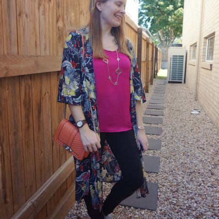 Pink and orange 💕🧡 adding a lot of colour to these black Nobody Denim skinny jeans with a pink satin tank, peach Rebecca Minkoff small Love bag and tropical floral print duster. First wearing of my recently thrifted designer inspired clover necklace too, I like how it dressed this outfit up a little 💕 perfect for a BBQ with friends on a warm spring night the other weekend.  ----------------------- ---------------- -------------------  --------------------- ------------------------------  Screenshot this pic to shop the product details from the @liketoknow.it app, or click here: http://liketk.it/3olFZ #liketkit #LTKaustralia #RebeccaMinkoff #LTKitbag #RebeccaMinkoffLove #myRM #everythingLooksBetterWithABag #everydaystyle #realeverydaystyle #wearedonthestreet #realmumstyle #nevervainalwayscolour #mumlife