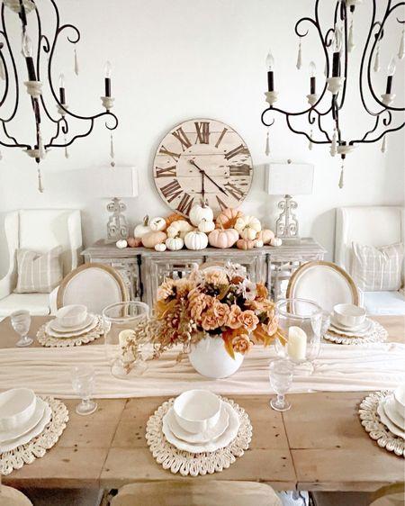 Fall tablescape  Home decor Farmhouse dining room  #LTKhome #LTKunder100 #LTKSeasonal