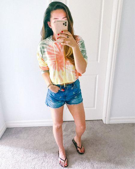 Crop tie dye hoodie, high rise denim shorts, thin flip flops. Perfect summer outfit http://liketk.it/2REDd #liketkit @liketoknow.it #LTKsalealert #LTKfamily #LTKstyletip