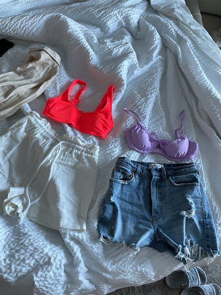 purple bikini tops (size M for both) white linen shorts (size XS) high rise mom shorts (size 25)    #LTKSeasonal #LTKswim #LTKtravel