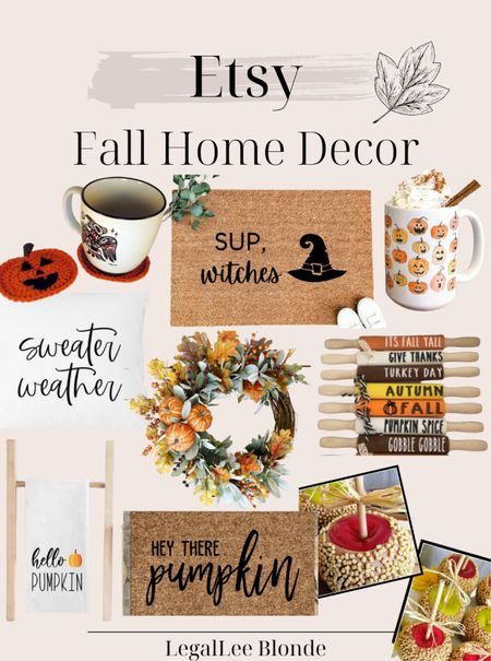 Fall home decor finds from Etsy! So many unique fall decorations: faux candy apple decorations, pumpkin coffee coasters and more! - Etsy finds - fall decor - fall doormat - fall wreathes - fall wreath - fall pillows - fall coffee mug - coffee mugs