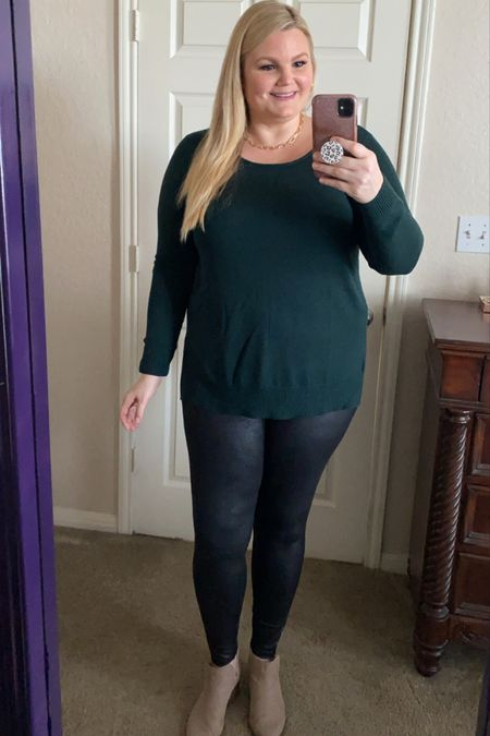 Grace & Lace fall outfit! Lightweight sweater has high-low hem. Very soft and comfy. True to size. Faux leather leggings are high waisted. Size down if in between sizes.    #LTKunder50 #LTKstyletip #LTKSeasonal