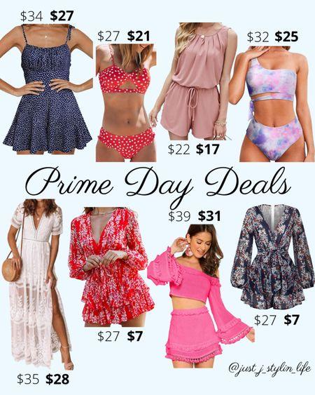 Amazon Prime Day deals - Fashion. Amazon finds. Navy blue romper, red bikini swimsuit, tie dye onepiece swim, white lace dress, red and blue rompers, pink two piece set. Found on Amazon, Amazon Prime, Amazon deals. http://liketk.it/3i5Le @liketoknow.it #liketkit #LTKsalealert #LTKunder50 #LTKunder100 #LTKswim #LTKtravel