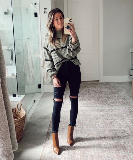 Wearing size small in this sweater.  Code JENREED on these jeans (ends very soon). // fall outfit idea.🍂     #LTKstyletip #LTKshoecrush #LTKsalealert