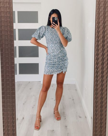 mini blue dress for a girls night out! Wearing size small and 7 in heels   #LTKunder100 #LTKshoecrush