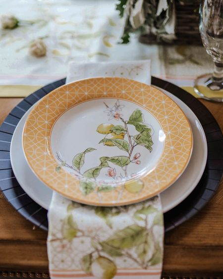 Spring and summer table setting with lemon and floral design.   Currently on sale Tablescape, Williams-Sonoma, home decor, table inspo, Spring plates,  Summer plates http://liketk.it/3fFCh @liketoknow.it #liketkit #LTKSpringSale #LTKsalealert #LTKstyletip #LTKunder50 #LTKunder100 #LTKhome Download the LIKEtoKNOW.it app to shop this pic via screenshot