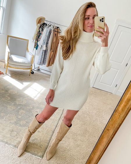 White sweater dress from Amazon (wearing size S). You guys know that I don't recommend Amazon clothes often, so when I do, you know it's good. This sweater dress has a thick knit that's soft yet lays nicely. The sleeves have a very subtle bell shape and the turtleneck is soft, not itchy. Boots are the 'Derika' by Vince Camuto and sold out. Similar suede knee high boots linked  #sweaterdresses #whitesweaterdress #amazonsweaterdress #sweaterdressoutfit