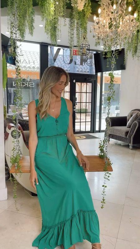 Elegant maxi dress, Kelly green dress , revolve finds under 100  #LTKtravel #LTKstyletip #LTKunder100