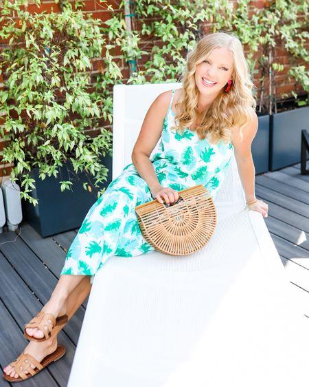 http://liketk.it/3j8DN @liketoknow.it #liketkit cute tropical summer sleeveless dress Amazon straw bag tuckernuck earrings pretty green and white dress