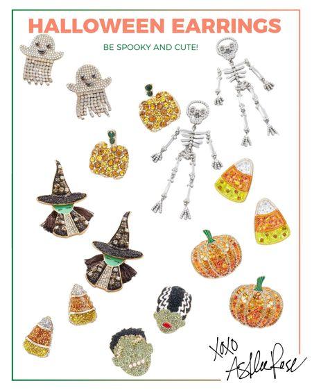 Cute fall earrings. Spooky ghosts, pumpkins, candy corn, Frankenstein, skeletons. Halloween jewelry.   #LTKSeasonal #LTKunder50 #LTKstyletip