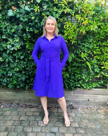 """Studio Anneloes button-down shirtdress """"Mindy"""" in striking purple 💜 Tie belt from the same fabric and side pockets. Knee length and long sleeves. Super flattering cut in comfortable no-iron travel quality lycra. True to size, I am wearing an M. Available at De Bijenkorf 💜  #blousedress #shirtdress #workdress #purpledress #travelquality #dutchfashion #amsterdamfashion   #LTKworkwear #LTKstyletip #LTKeurope"""