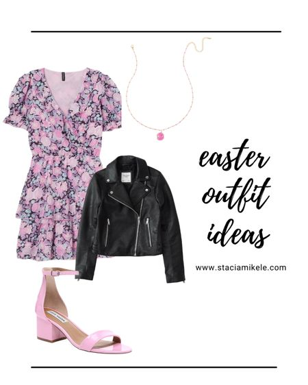 Easter outfit idea.  Dress from hm Steve Madden pink heels Abercrombie leather jacket