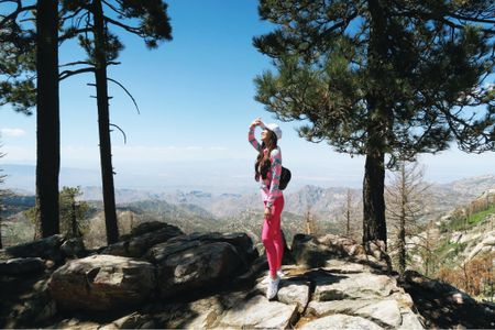 Hiking outfit bright pink and upf clothing!   #LTKtravel #LTKunder100