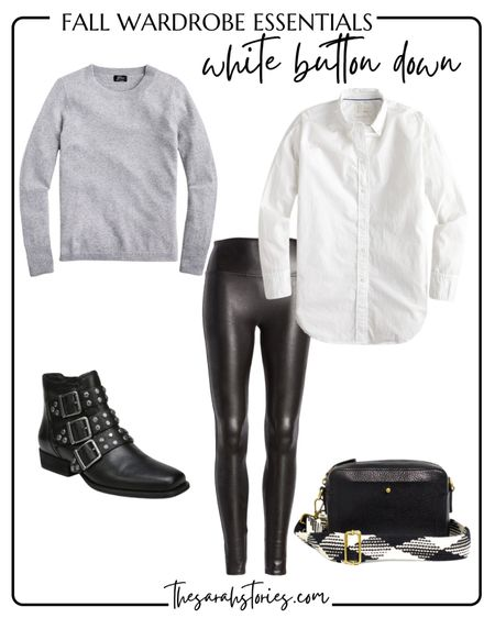 FALL ESSENTIALS : CLASSIC WHITE BUTTON SHIRT  // Fall outfit idea, Fall transition outfit, casual everyday outfit, Spanx faux leather leggings, edgy style   #LTKunder100 #LTKstyletip
