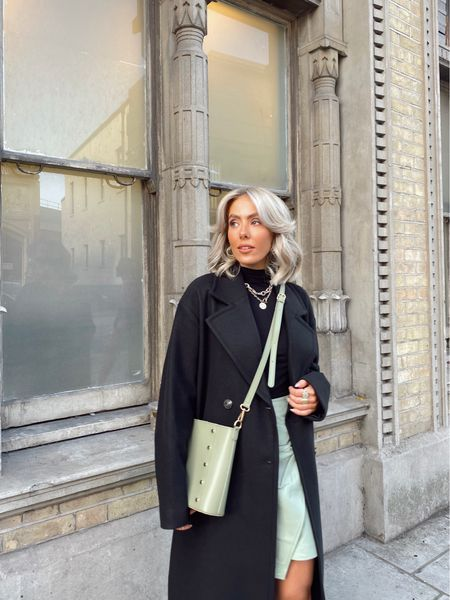 Sage bag and skirt styled with black pieces to add some colour into my autumn wardrobe , styling with a black roll neck and super soft tailored black slouch coat perfect for everyday looks and date nights   #LTKeurope #LTKSeasonal #LTKstyletip