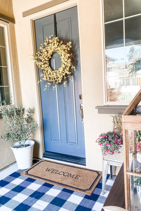 Spring porch refresh.  Home decor to spruce up a patio.    Planters.  Door Mat.   Spring Wreath. Olive Tree. Buffalo Plaid.  Outdoor Rug. Outdoor Pillow Covers.    http://liketk.it/3duzb #liketkit #LTKhome #LTKfamily #LTKstyletip @liketoknow.it.home Follow me on the LIKEtoKNOW.it shopping app to get the product details for this look and others @liketoknow.it