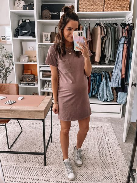 T-shirt Dress: true to size, sized up to a M for my bump High top sneakers: true to size, size down if between   #LTKbump #LTKshoecrush #LTKunder50