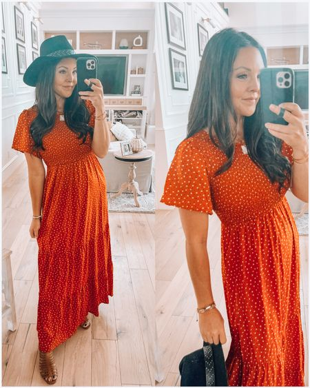 Fall dress alert! Super cute, comfy & flattering- comes in a ton of color options.  Maxi dress flutter sleeve  $38.99 free shipping  Fall outfit Family photos   #LTKunder50 #LTKSeasonal