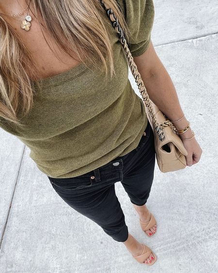 Love those puff sleeve short sleeve sweater and black jeans combo for a fall outfit date night idea! Also these heels are so comfortable. small in the top, size up in the jeans, tts in the heels #falloutfit #fallfashion #datenight #fallsweater  #LTKunder100 #LTKshoecrush #LTKstyletip