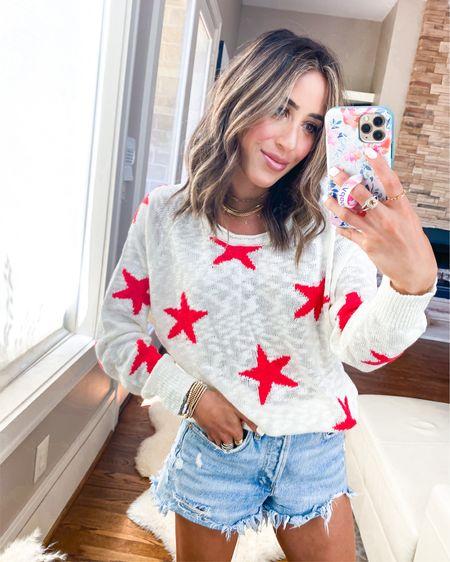 Amazon star sweater size s, shorts size 24 http://liketk.it/3fru0 #liketkit @liketoknow.it #LTKunder100 #LTKstyletip #LTKunder50