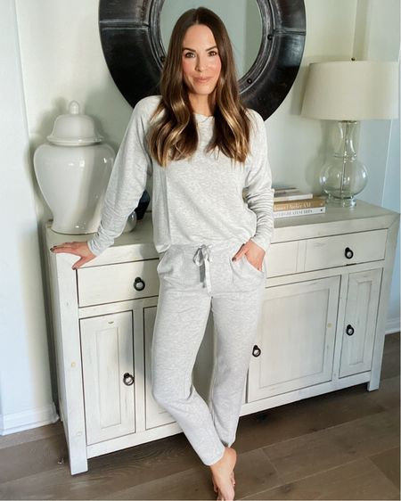 The coziest lounge set on sale for 50% off right now! Size small in the top and bottom!   #LTKunder100 #LTKunder50 #LTKsalealert