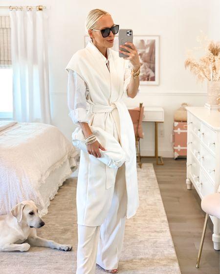 Victoria Emerson accessories. White sleeveless coat H&M. Wide leg trousers. Neutral style. All white. Monochromatic.   #LTKunder50 #LTKunder100 #LTKstyletip