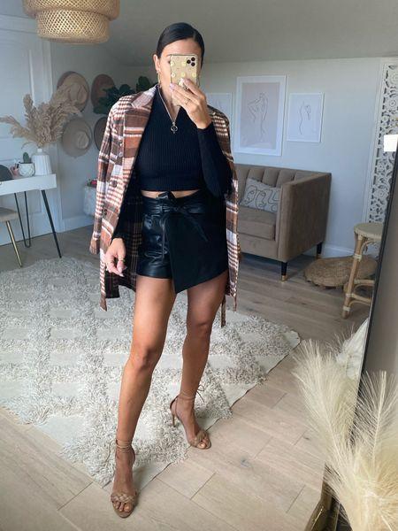 Fall haul Faux leather Skort  Plaid jacket Coat    #LTKSale #LTKunder50 #LTKstyletip