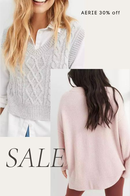 Aerie 30% off sweaters sale- cable knit sweater vest, tunic sweater, boyfriend sweater, cozy sweater, long sweater   #LTKunder50 #LTKsalealert #LTKunder100
