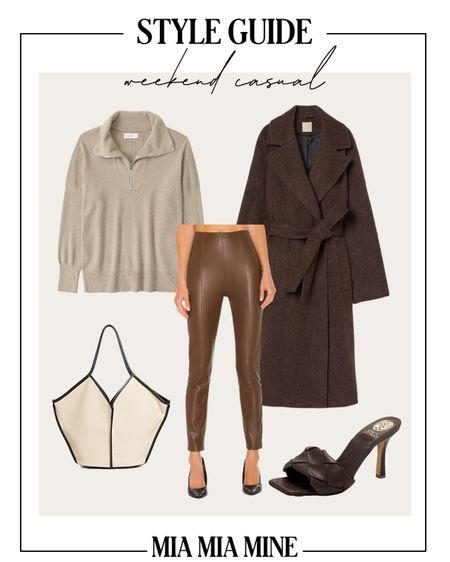 Casual fall outfit H&M brown coat Abercrombie half zip pullover on sale Free People faux leather leggings    #LTKSeasonal #LTKstyletip #LTKunder100
