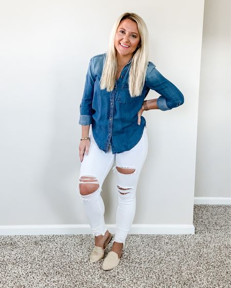 How to Style a Chambray Button Down Shirt   http://liketk.it/3bShX #liketkit @liketoknow.it #LTKstyletip #LTKunder50