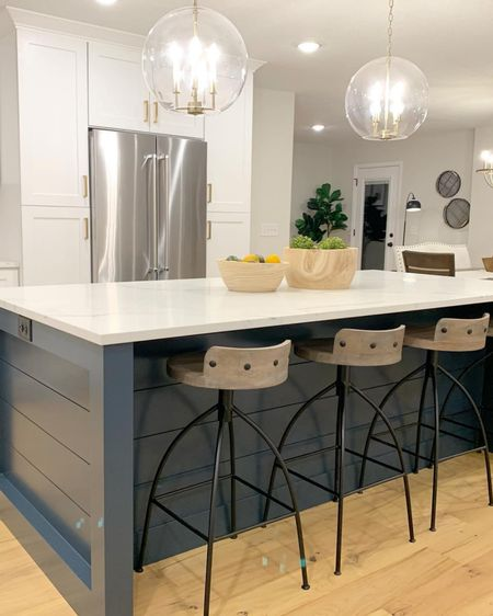 This kitchen is a dream!!! Check out where you can purchase the lighting, stools and bowls on the LIKE IT TO KNOW IT app! http://liketk.it/2RK3g #liketkit @liketoknow.it #LTKhome #StayHomeWithLTK  #dreamykitchen #lighting #counterstools @liketoknow.it.home Follow me on the LIKEtoKNOW.it shopping app to get the product details for this look and others
