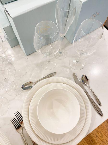 Lenox tableware, flatware, wine glasses, dishwasher safe, champagne glasses, table setting, white place setting,   #LTKhome