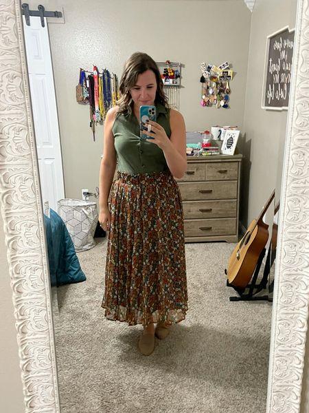 Another way to wear this cute floral midi skirt!   #LTKstyletip #LTKcurves #LTKunder50