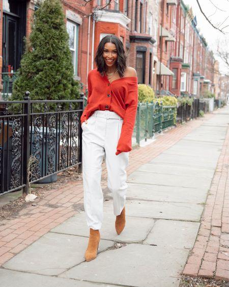Boyfriend Cardigan, trousers and booties http://liketk.it/35t68 #liketkit @liketoknow.it #LTKsalealert #LTKshoecrush #LTKstyletip