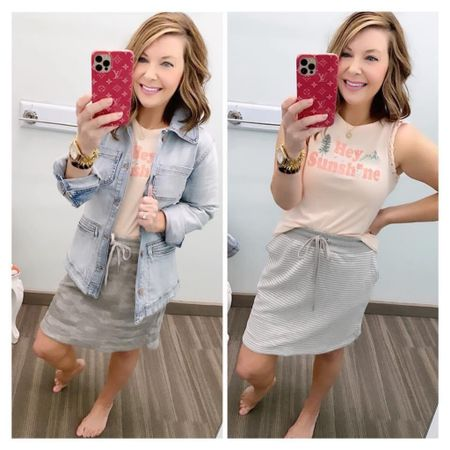 Do you like the striped skirt or camo???  My skirts are under $14! Stretchy, soft & have pockets! ⚡️⚡️ ( Regularly $30)   Outfit details here: My hey sunshine tank, wearing an XS  My new jean jacket! Has stretch overall and the back has some great flattering detail!  The camo skirt that everyone raved about last year is back! It has pockets too! I'm wearing a small  Stripe skirt here, wearing a small  Xo, Brooke  #LTKsalealert #LTKstyletip